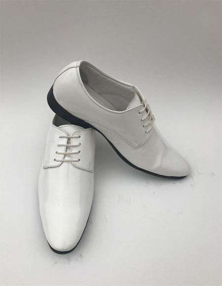 Product# JSM-6814 Men's Plain Toe Lace Up Style White Tuxedo Formal Shiny Dress Shoes