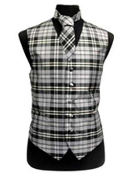Product# JSM-3290 Men's Slim Fit Polyester Plaid Design Vest/Bow Tie Black/White/Grey Fashion Set