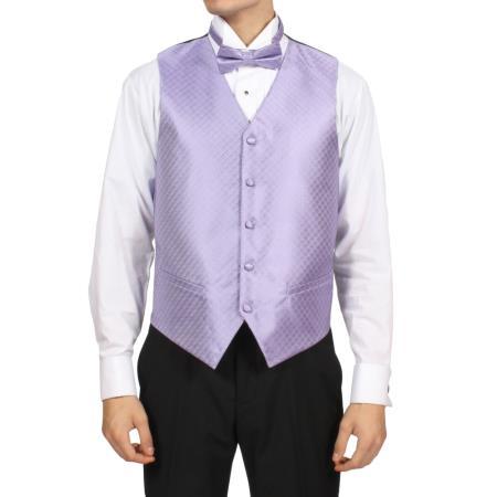 Lilac Lavender Purple color shade 4-Piece Vest Set