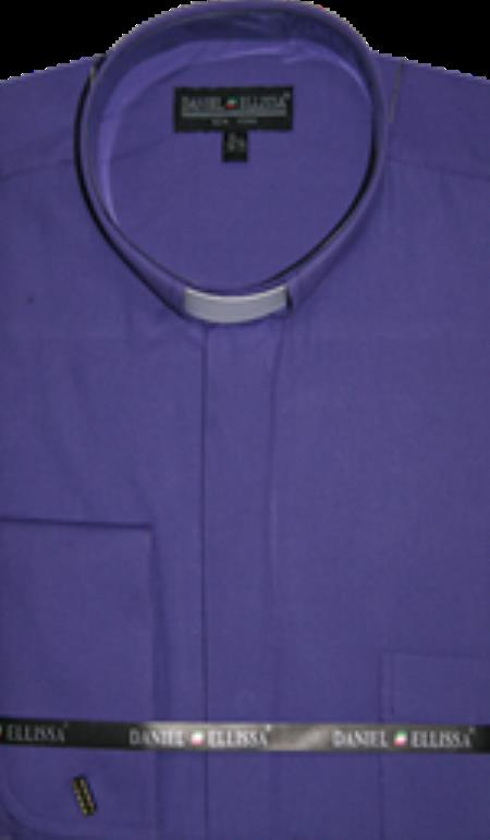 Product# PN-J62 Banded Collar Clergy dress shirts no collar mandarin Collarless - French Cuff Purple color shade
