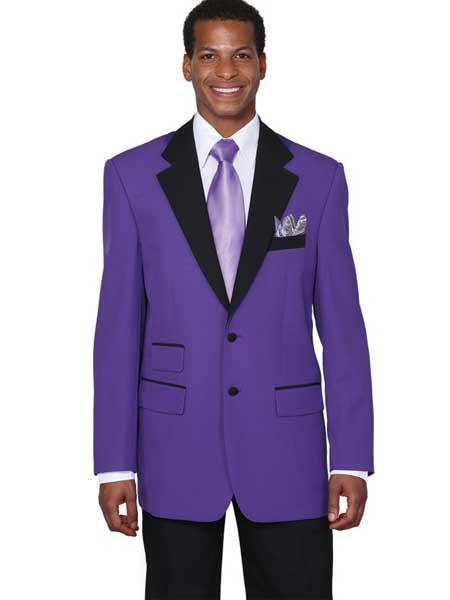 Purple color shade 2 Button Style Single Breasted Liquid Jet Black Collar Jacket Black and Purple Tuxedo