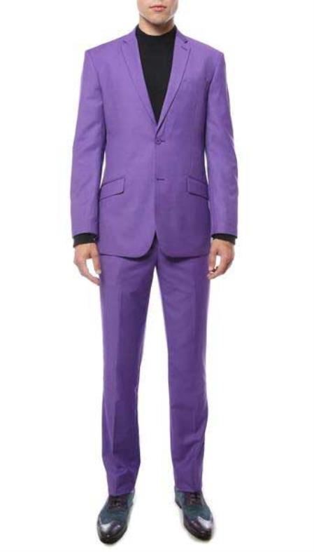 Purple color shade 2 Button Style Classic Notch Lapel Slim narrow Style Fit Single Breasted Suit