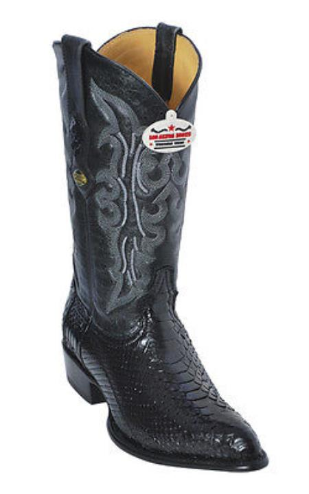 Product#KA5889 python ~ snake Skin Liquid Jet Black Authentic Los altos Cowboy Boots Western Classics Riding