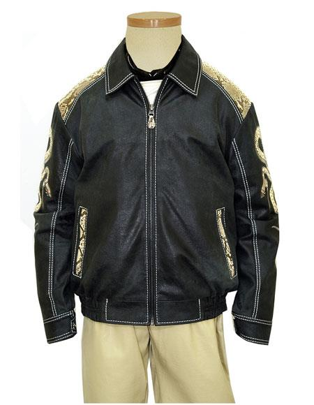 Product# GD1011 G-Gator Men's Genuine Python Snake Skin/Leather Zipper Jacket