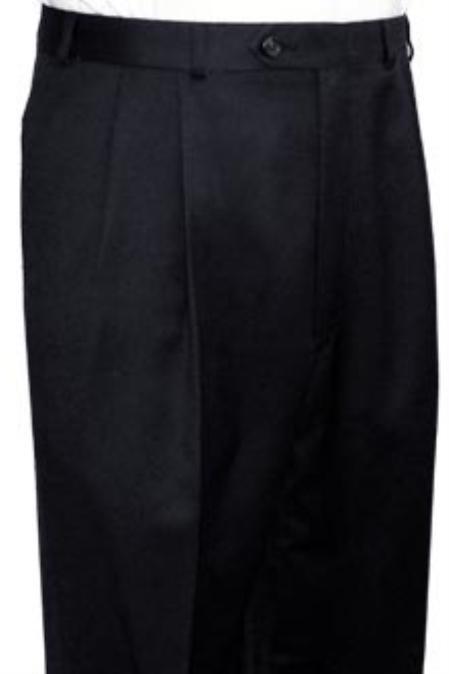 Product# PS313 Superior Fabric Quality Dress Slacks / Trousers Liquid Jet Black Pleated Slacks Pants
