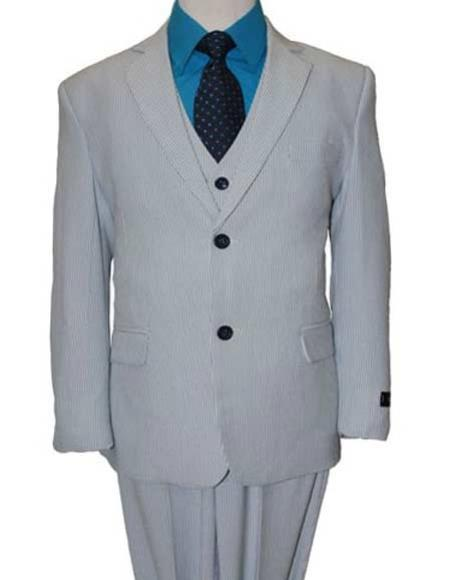 Product# JSM-2387 Boy's 3 Piece Elbow Patches Notch Lapel Poly/Rayon Matching Vested Cheap priced Mens Searsucker Seersucker Sale BlueBoys And Men Suit