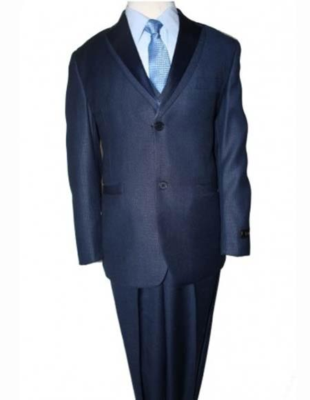 Boy's Blue Double Lapel Solid Poly Rayon 5 Piece Boys And Men Suit Vested With Shirt,Tie & Hanky
