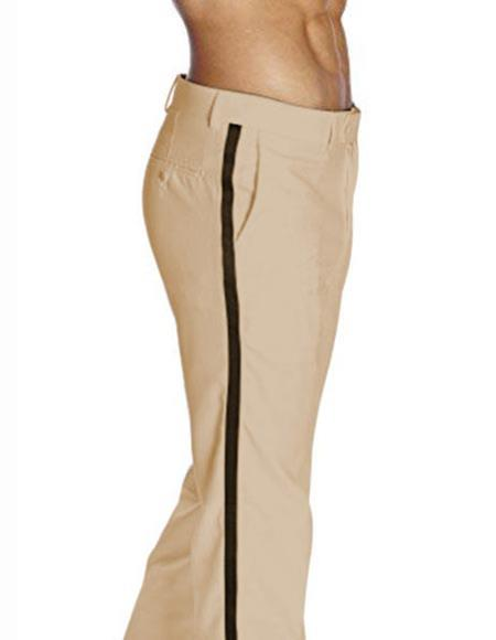 Product# JSM-2394 Men's Classic Fit With Black Satin Stripe Flat Front Poly/Rayon Solid Tan Tuxedo Pant