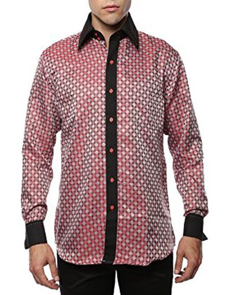 Men's Geometric Red-Black Shiny Satin Floral Spread Collar Paisley Dress Shirt Flashy Stage Colored Two Toned Woven Casual