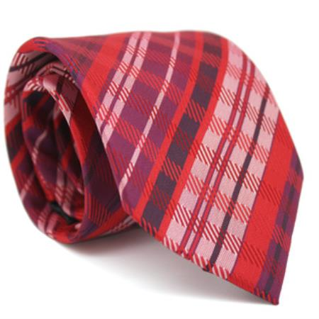 Product# KA6589 Slim narrow Style red color shade Glen Classic Necktie with Matching Handkerchief - Tie Set