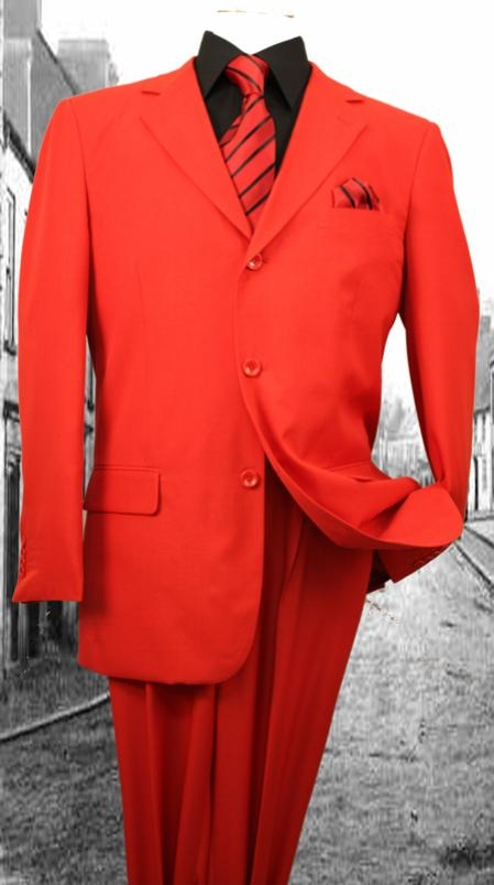 Product# FL3937 Superior Fabric 120'S G-Red Solid Color Suit