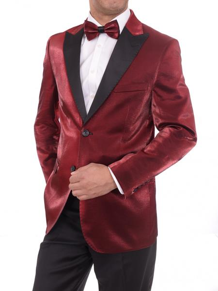 Product# JSM-4008 Men's 2 Button Slim Fit Solid Red Peak Lapel Sharkskin Blazer Sportcoat