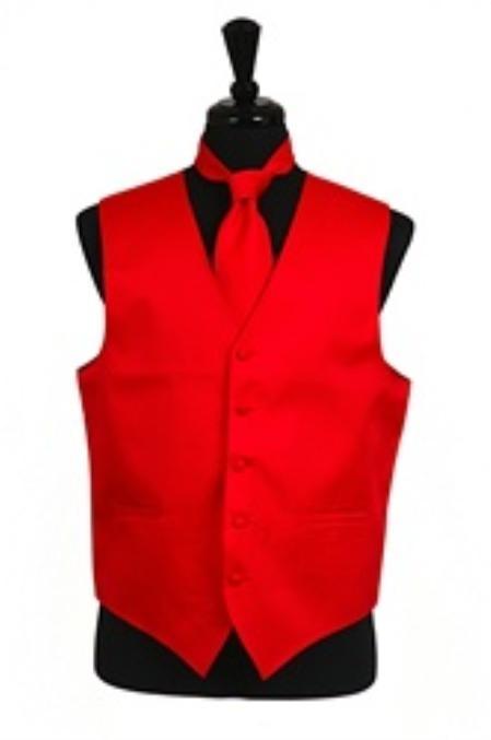 Horizontal Rib Pattern Dress Tuxedo Wedding Vest Tie Set red color shade
