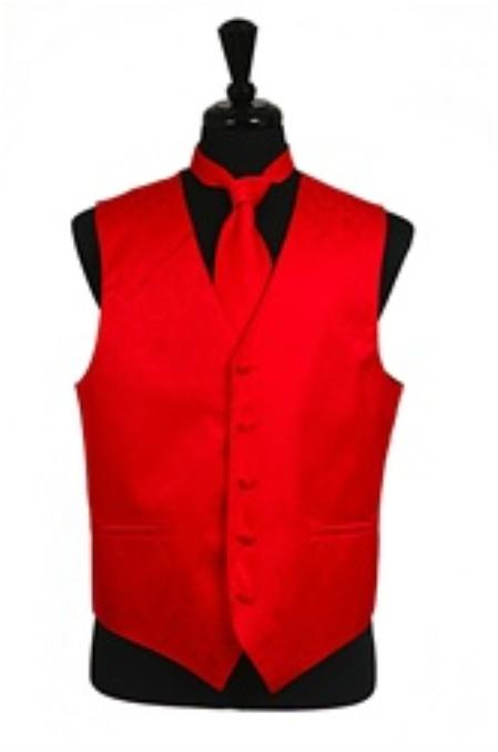Product# VS2783 Paisley tone on tone Vest Tie Set red color shade