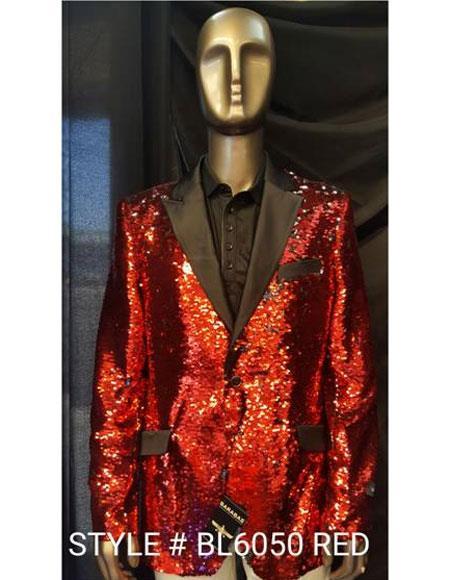 men's Fashion Red Shiny Sequin Paisley Blazer Sport coat Tuxedo Jacket
