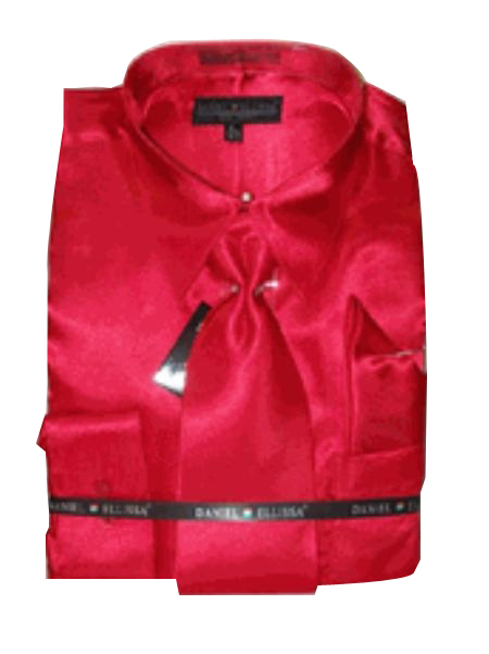 Product# KO421 New red color shade Satin Dress Shirt Tie Combo Shirts