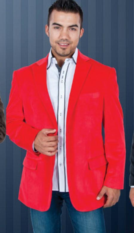Product# YT6367 red color shade Velvet Blazer Online Sale Jackets for
