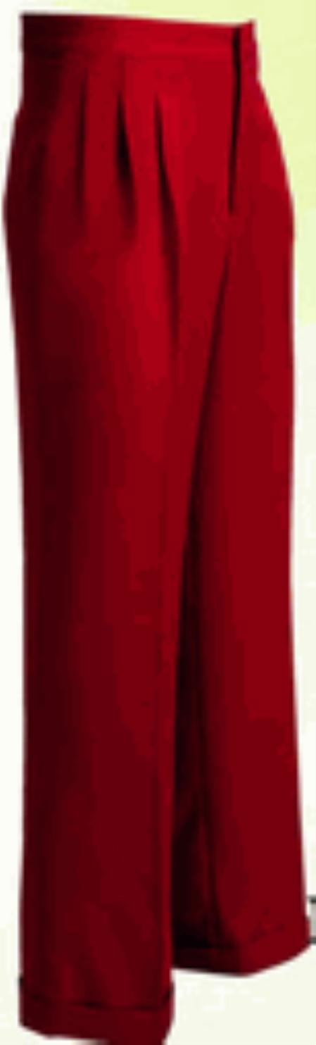 Product#RW363 long rise big leg slacks Wide Leg Triple Pleat red color shade Pant