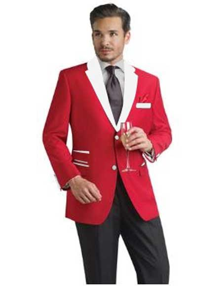 Product# SM289 red color shade and White lapel Tuxedo Suit