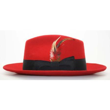 Red/Black Fedora suit hat