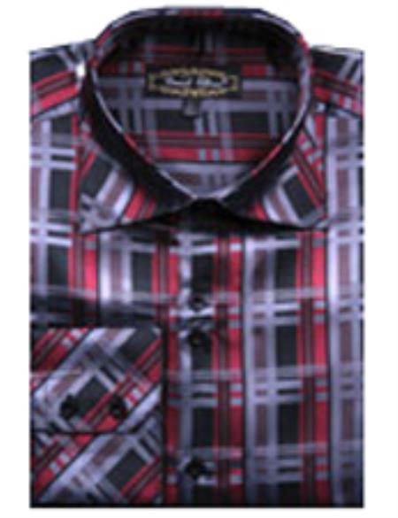 Shirts Red/Black(100% Polyester) Flashy