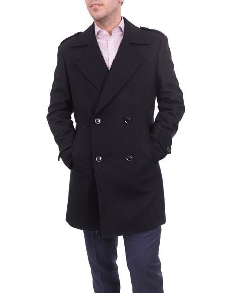 mens solid black Double