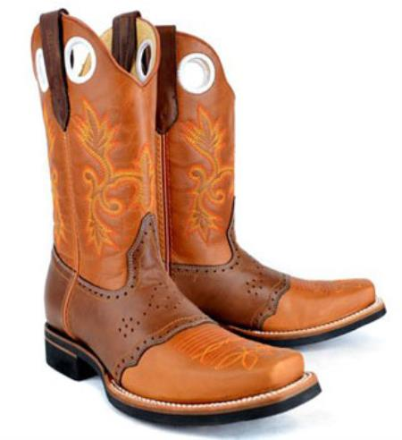 Product# RM1022 King Exotic Boots Rodeo Style Leather Boot Leather Saddle Cognac Boot