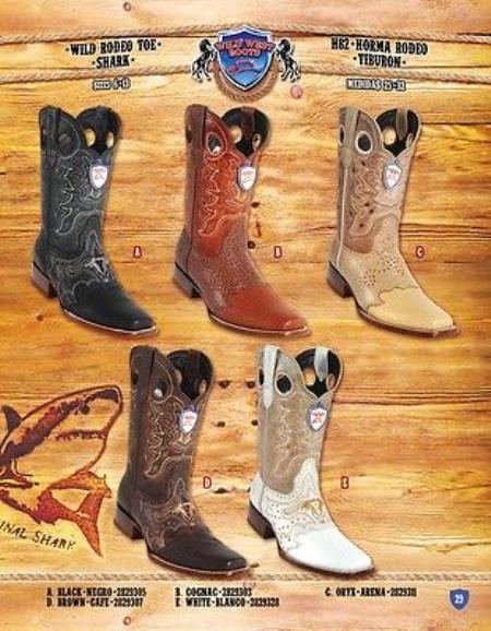 Product# PN_E51 Rodeo Toe Genuine Shark Cowboy Western Boots Multi-color