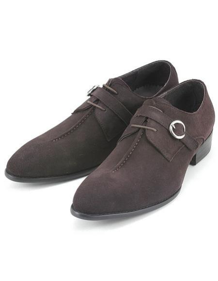 Product# CH2420 Mens stylish brown suede strap oxford zota Zota Unique Men's Dress Shoes