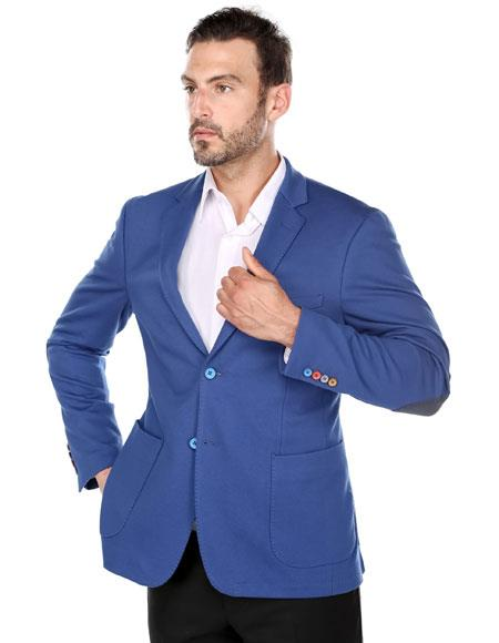 Renoi Men's royal Blue Slim Fit elbow patches fashion Blazer