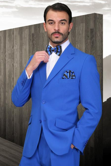 Product# EK-95 Royal Blue Suit For Men Perfect  pastel color Athletic Cut Suits Classic Fit  2 Button Style Superior Fabric 120's Extra Fine 2 Piece