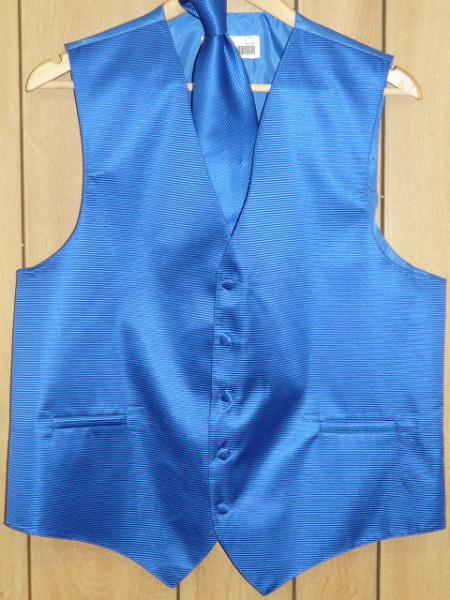 Product# KA1316 royal blue pastel color Vest & Tie set
