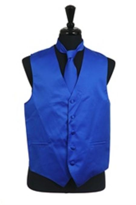 Product# VS1022 Vest Tie Set royal blue pastel color