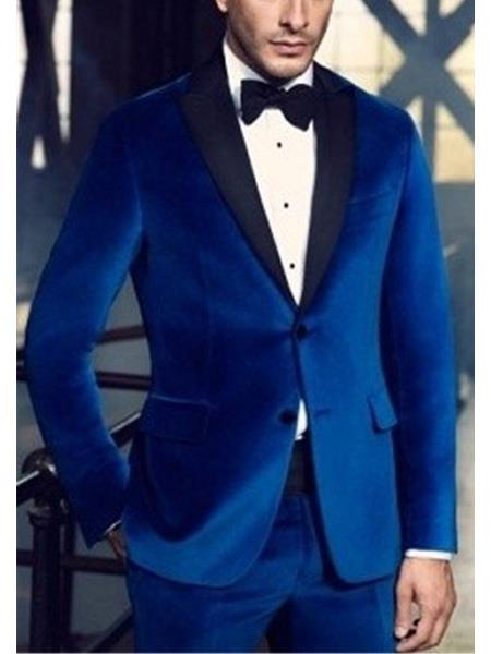 men's 2 Button Royal Blue Suit For Men Perfect  Wedding Tuxedo Suit
