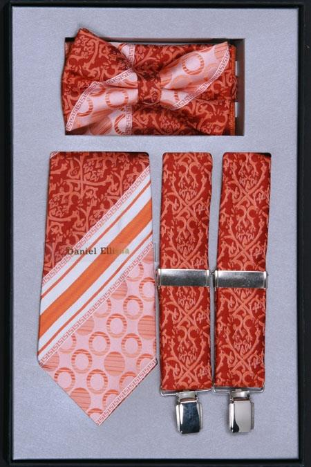 Product# TS29 Suspender, Tie, Bow Tie ~ Bowtie and Hanky Set Rust
