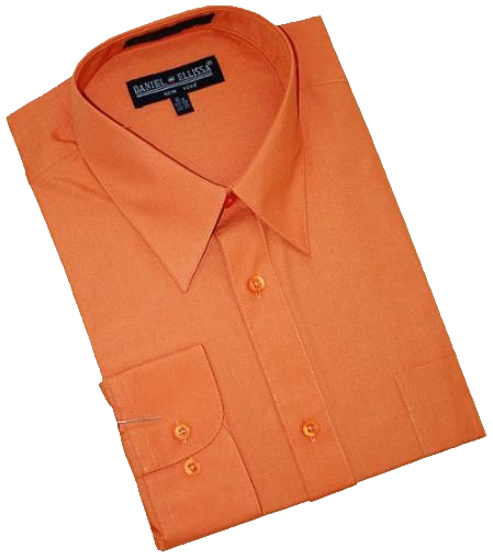 Product# NS682 Rust Cotton Blend Dress Shirt With Convertible Cuffs