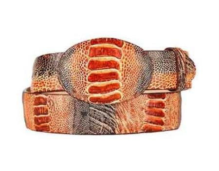 Product# SM260 Rustic Original Ostrich Leg Skin Western Style Belt Cognac