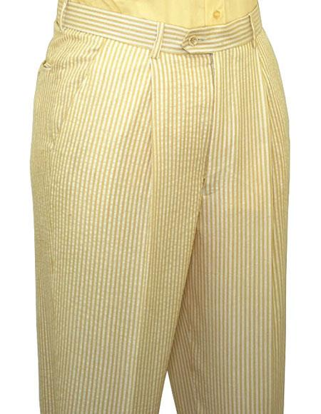 Product# JSM-6628 Cheap priced Mens Searsucker Seersucker Sale Yellow Slacks Dress Pants (No Pleated is available) also other colors available