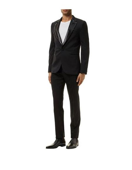 Product# JSM-6241 Any Styled of your choice Two Toned Sequin Lapel Black  Tuxedo Suit Wide Leg Pants (1 or 2 or 3 or DB Buttons)