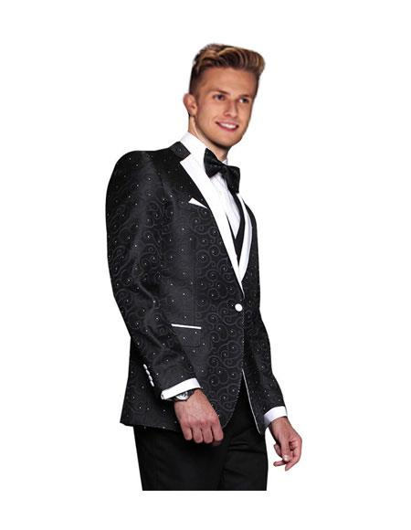 Product# JSM-6271 Mens Black 1 Button Modern Fit Floral Sateen Unique Paisley Sport Coat Wool Sequin Unique Shiny Fashion Prom Flashy Silky Satin Stage Blazer / Sport coat / Dinner Jacket