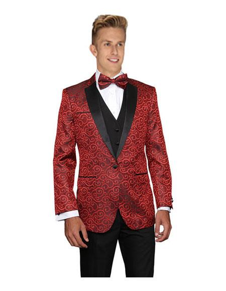 Mens Red Modern Fit