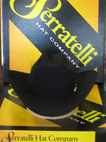 Product# KA3778 Serratelli Designer 10x El CapiTan khaki Color Liquid Jet Black 4 Brim Western Cowboy Hat