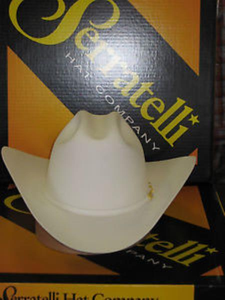 Product# KA6347 Serratelli Designer 10x El CapiTan khaki Color White 3 1/2 Brim Western Cowboy Hat