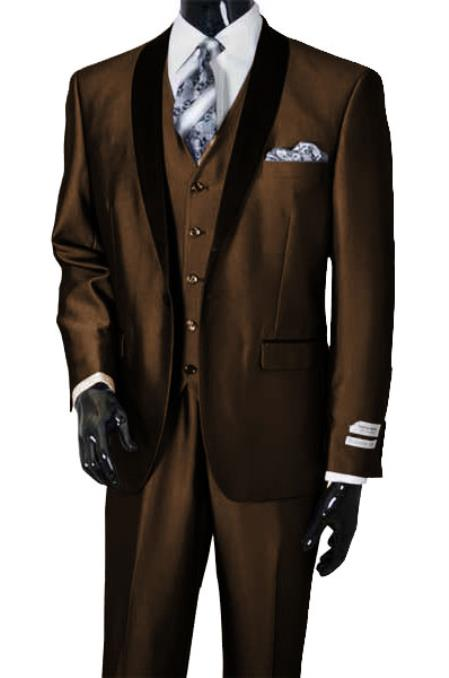 Product# SM4998 Men's Shawl Lapel Sharkskin Shiny Vested Suit Dark Brown