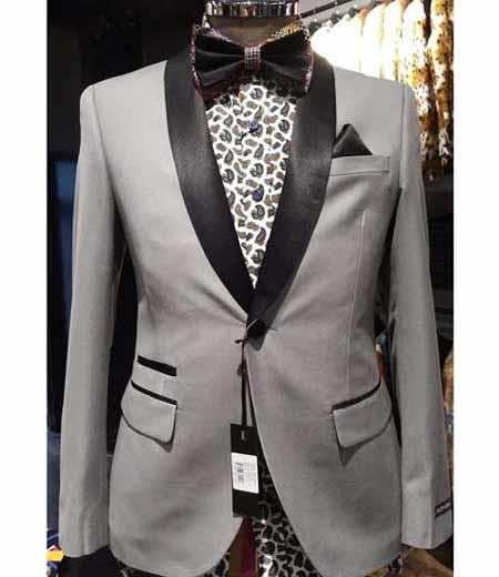 Product# SD294 Men's Slim Fit Two Toned Black Lapel Shawl Collar Black and Silver Suit Dinner Jacket Looking!
