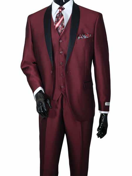 Mens 3 Piece Burgundy