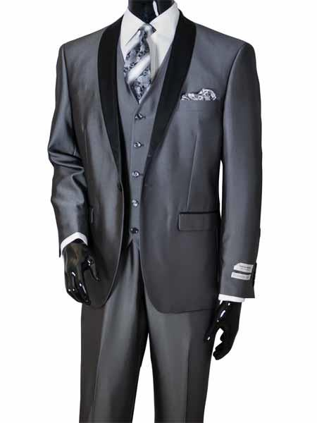 JSM-656 Men's Metal Gray 3 Piece Two Toned Shawl Lapel Vested Sharkskin