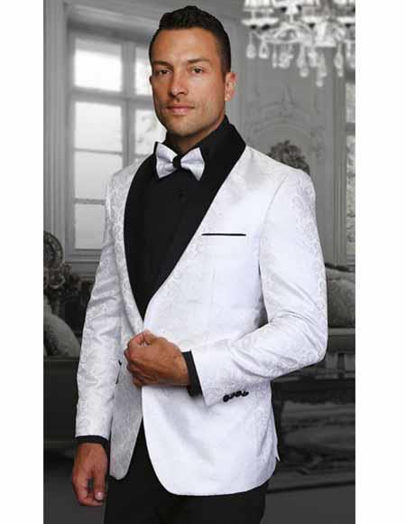 Men's Two Toned White Paisley Shawl Lapel Entertainer Singer Blazer Jacket