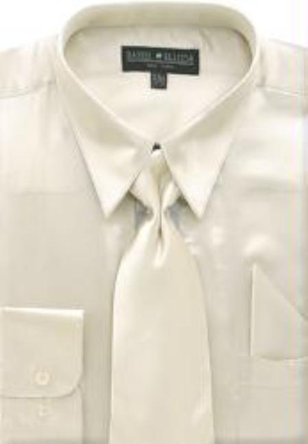 Product# FA761 Beige Shiny Silky Satin Dress Shirt/Tie