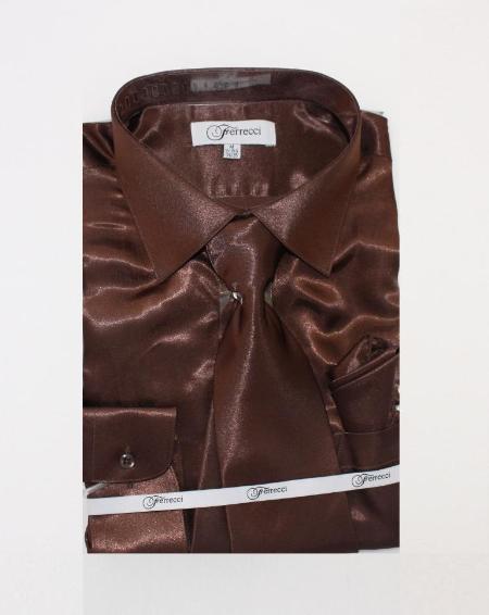 Fer_SH1 Shiny Luxurious Shirt Dark brown color shade